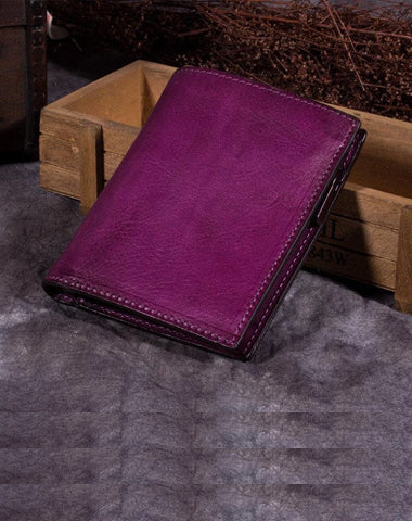 Purple Vintage Womens Leather Bifold Slim Brown Small Wallet BLue billfold Wallet Purse for Ladies