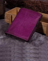 Purple Vintage Womens Leather Bifold Slim Brown Small Wallet BLue Short Wallet Purse for Ladies