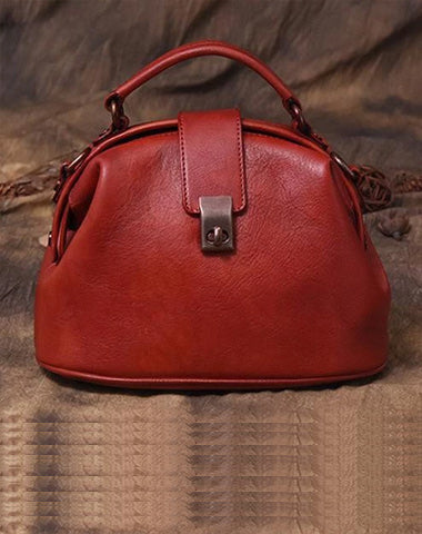 Red Small Womens Vintage Leather Doctor Handbag Small Brown Doctor Purse Shoulder Bag for Ladies