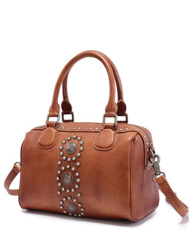 Brown Vintage Ladies Leather Rivet Boston Handbag Purse Red Shoulder Handbag for Women