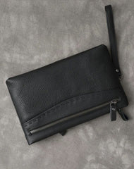 Black Leather Mens Multi Layer Business Clutch Wallet Wristlet Wallet For Men