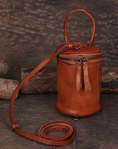 Brown Womens Leather Bucket Handbag Womens Barrel Purse Small Bucket Shoulder Purse
