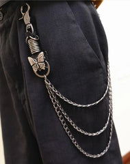 Badass Mens Metal Three Layer Butterfly Key Chain Pants Chain Wallet Chain For Men