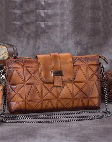 Brown Leather Geometric Womens VIntage Chain Shoulder Bag Side Bag Red Chain Clutch Purse for Ladies