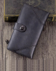 Grey Vintage Womens Leather Bifold Long Wallet Tan Phone Clutch Purse for Ladies