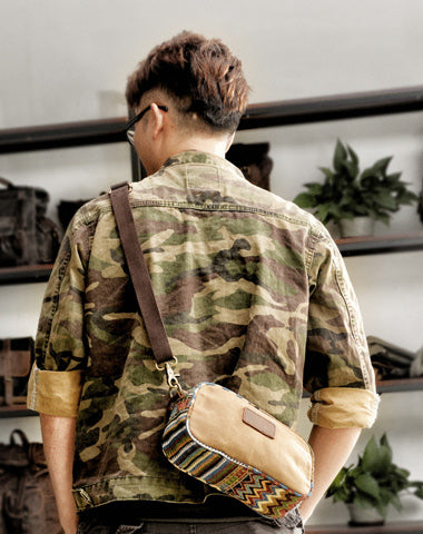Cool Canvas Mens Green Clutch Bag Mini Side Bag Gray Small Messenger Bag For Men