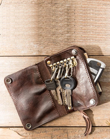 Black Leather Mens Small Car Key Wallet Dark Brown Key Holder Coin Purse Card Holder For Men