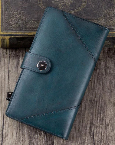 Vintage Leather Womens Blue Long Clutch Wallet Brown Bifold Purse Long Wallet for Ladies