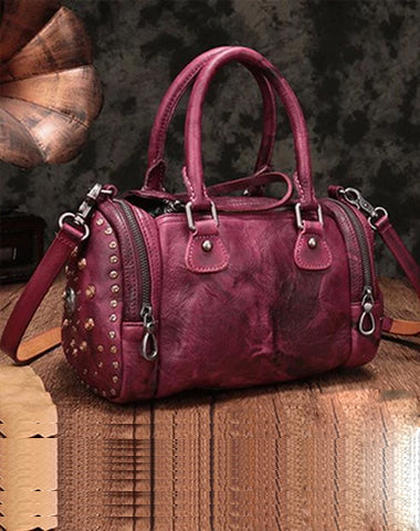 Purple Rivet Vintage Womens Leather Handbags Boston Purse Western Leather Boston Purses for Ladies