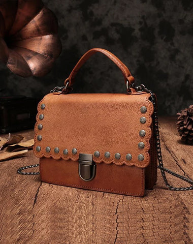 Vintage Womens Leather Handbags Purse Brown Satchel Handbags Shoulder Crossbody Bags for Ladies