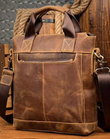 Brown Leather Mens 13 inches Briefcase Vertical Laptop Side Bags Business Bags Work Bags for Men