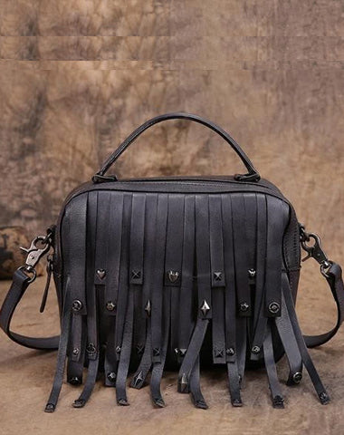 Black Gray Vintage Womens Leather Purse Tassel Handbag Red Shoulder Bag Crossbody Purses for Ladies