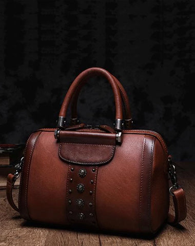 Brown Vintage Womens Leather Boston Handbag Purse Black Side Bag Boston Purse for Ladies