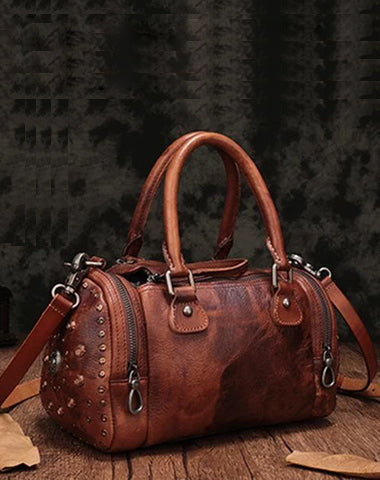 Brown Rivet Vintage Womens Leather Handbags Boston Purse Western Leather Boston Purses for Ladies