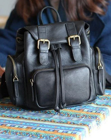 Cute Trendy Womens Small Black Leather Backpacks Womens Black School Backpack Purse
