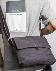 Casual Canvas Dark Gray Men's Side Bag Shoulder Bag Postman Messenger Bag For Men