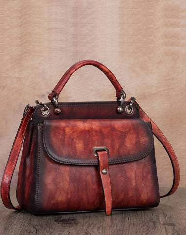 Red Vintage Ladies Leather Square Satchel Handbag Purse Brown SHoulder Bag Side Bag for WOmen