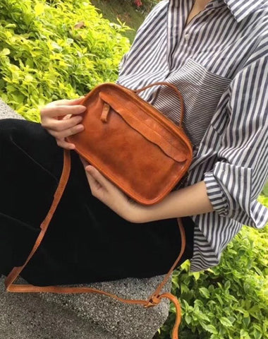 Vintage Womens Brown Small Cube Handbag Leather Black Women's Shoulder Purse for Ladies