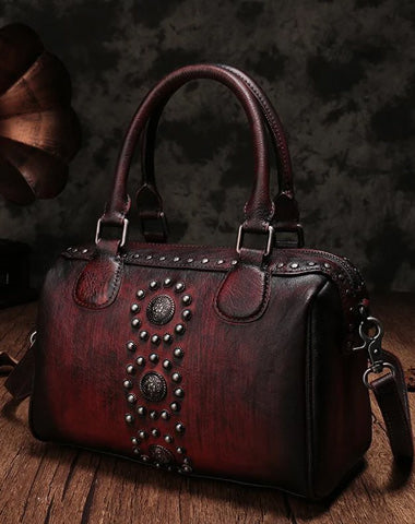 Vintage Red Ladies Leather Rivet Boston Handbag Purse Brown Shoulder Handbag for Women