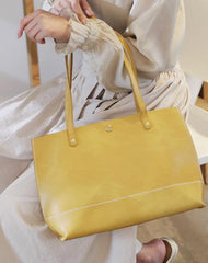 Stylish Womens Yellow Leather Tote Bags For Work Yellow Tote Shopper Bag Purse for Women
