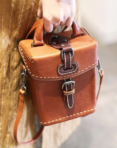 Vintage Small WOmens Brown Leather Box Handbag Shoulder Bag Square Crossbody Purse for Ladies