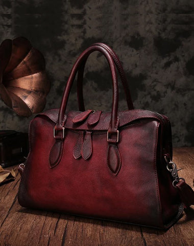 Vintage Womens Red Leather Handbag Purses Shoulder Handbag Purse Vintage Style Handbags for Ladies
