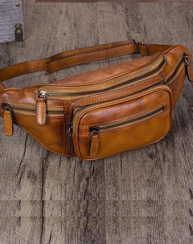 Vintage Brown Leather Mens Fanny Pack Hip Belt Bags Waist Bag Hip Bag Bum Bag for WOmen