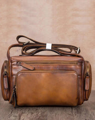 Brown VIntage Mens Leather Small Messenger Bag Tan SIde Bag Blue Courier Bag for Men