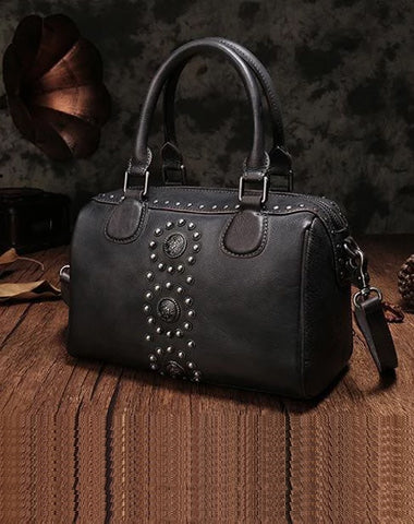 Black Vintage Ladies Leather Rivet Boston Handbag Purse Brown Shoulder Handbag for Women