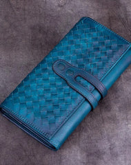 Blue Leather Braided Women's Trifold Leather Brown Long Wallet Clutch Wallets For Ladies