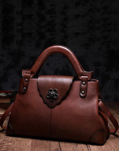 Brown Vintage Leather Ladies Satchel Handbag Black Shoulder Bag Purse for Women