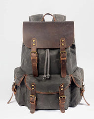 Cool Waxed Canvas Mens Waterproof 15'' Travel Backpack Hiking Backpack for Men