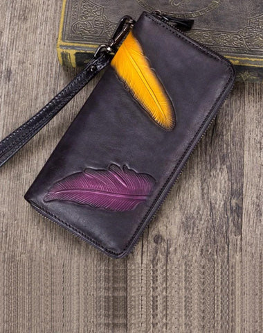 Gray Tooled Womens Leather Long Clutch Wallet Long Wallet Feather Bifold Long Purse for Ladies
