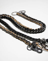 Cool Men's Leather Stainless Steel Woven Skull Key Chain Pants Chain Biker Wallet Chain For Men