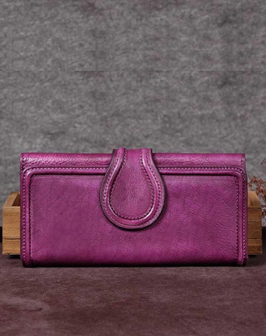 Vintage Purple Womens Long Bifold Wallet Brown Leather Wallet Red Clutch Wallet Purse