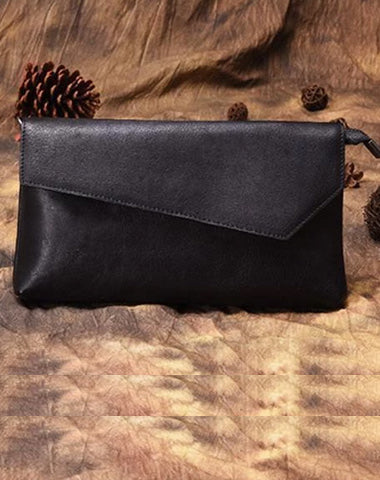 Vintage Small Black Leather Womens Shoulder Bag Clutch Purse Brown Side Bag for Ladies