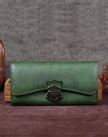 Green Vintage Ladies Leather Buckle Bifold Long Wallet Purple Phone Clutch Purses for Women