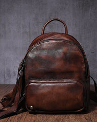Brown Leather Small Rucksack Womens Leather Backpack Ladies Backpack Purse