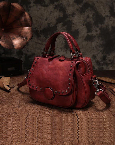 Red Vintage Womens Leather Rivet Handbag Brown Side Bag Satchel Bag Purse for Ladies