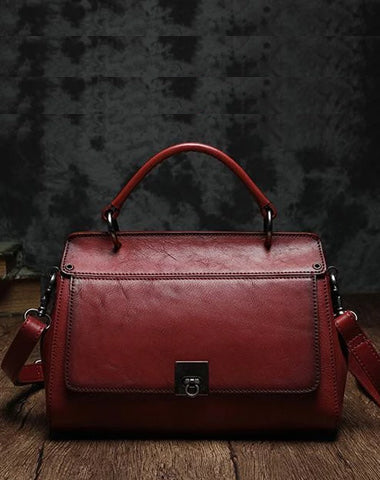 Red Vintage Womens Leather Satchel Handbags Brown Shoulder Bag Purses for Ladies