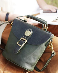 Vintage Ladies Green Leather Bucket Handbags Barrel Shoulder Bag Crossbody Bag Purses