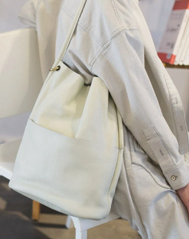 Women Vertical Leather Tote White Soft Leather Tote Shopper Shoulder Tote Bag Purse for Ladies