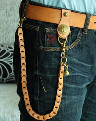 Cool Men's Leather Cross Gold Key Chain Pants Chain Biker Wallet Chain For Men