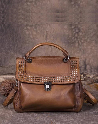 Brown Vintage Leather Purse Handmade Rivet Satchel Handbag Shoulder Bags Crossbody Purses