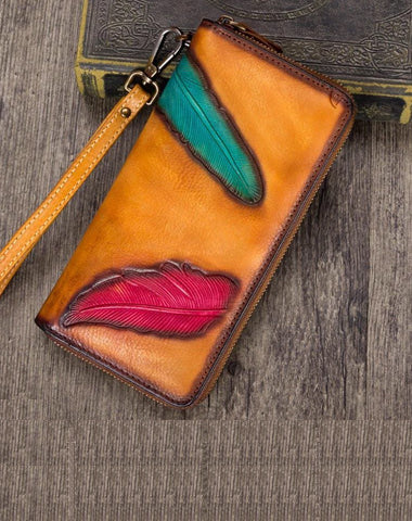 Tan Tooled Womens Leather Long Clutch Wallet Long Wallet Feather Bifold Long Purse for Ladies