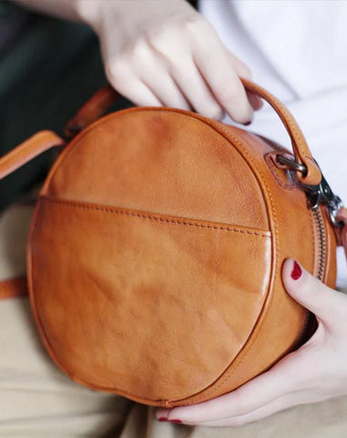 Vintage Womens Brown leather Circle Handbag Shoulder Bag Black Round Leather Crossbody Bag Side Purse