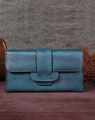 Vintage Brown Womens Leather Clutch Wallet Blue Long Wallet Bifold Wallet for Ladies