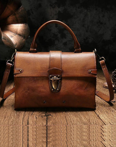 Vintage Womens Brown Leather Satchel Handbags Purse Shoulder Crossbody Bags for Ladies