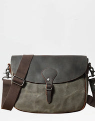 Cool Waxed Canvas Leather Mens Casual Small Green Side Bag Messenger Bag For Men