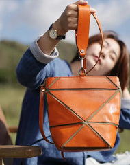 Cute Small Green Womens Leather Bucket Handbag Clutch Brown Leather Bucket Side Bag Shoulder Bag